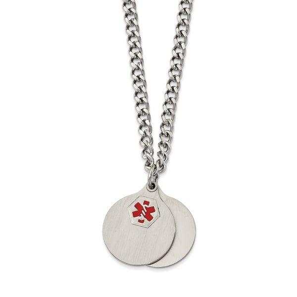 af312756999b3 Shop Chisel Stainless Steel Brushed 2 piece Medical Pendant Necklace ...