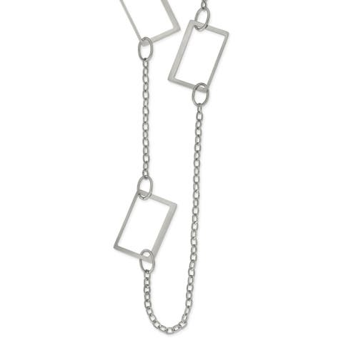 Chisel Stainless Steel 39-inch Square Link Necklace
