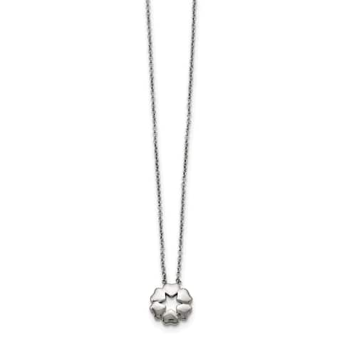 Chisel Stainless Steel Polished Flower Necklace
