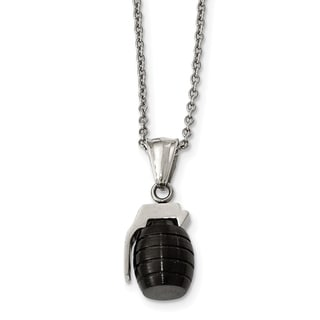 Chisel Stainless Steel Black IP Plated Grenade Necklace
