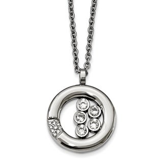 Chisel Stainless Steel Polished Circle CZ Necklace - china