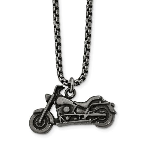 Chisel Stainless Steel Antiqued Motorcycle Necklace