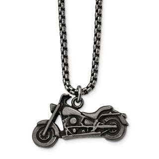 Chisel Stainless Steel Antiqued Motorcycle Necklace - china