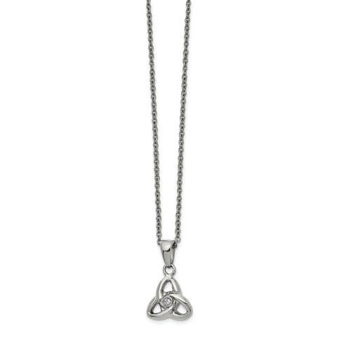 Chisel Stainless Steel Polished with Preciosa Crystal 16-inch with 1-inch Extension Necklace