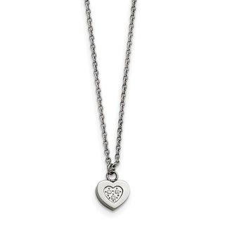 Chisel Stainless Steel Polished Heart With CZs Necklace China