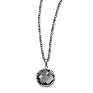 Chisel Stainless Steel Polished Charcoal Glass Necklace - china