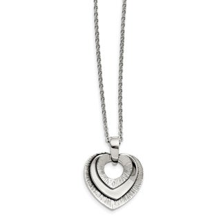 Chisel Stainless Steel Heart Three Piece Polished Necklace China