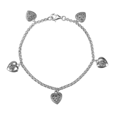 """MARC Sterling Silver Bracelet Set With Marcasite and Heart Charms 7.5"""""""