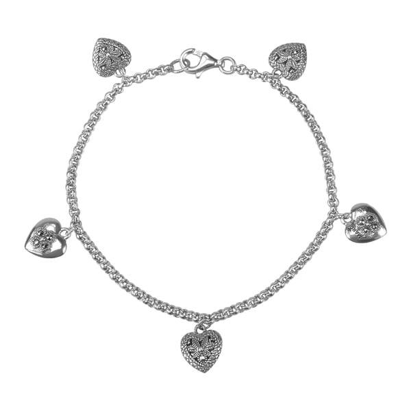"MARC Sterling Silver Marcasite Heart Charms Bracelet 7.5"""