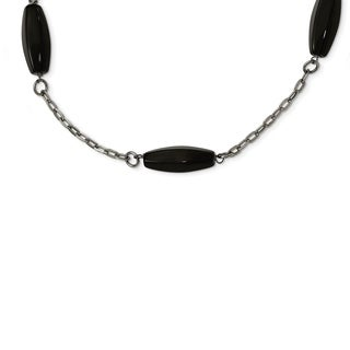Chisel Stainless Steel Polished Black Agate Necklace