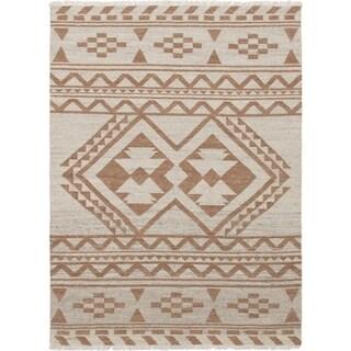 ECARPETGALLERY Flat-weave Izmir FW Brown, Cream Wool Kilim - 5'7 x 7'6