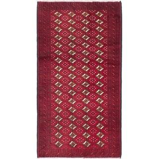 ECARPETGALLERY Hand-knotted Finest Baluch Dark Red Wool Rug - 3'6 x 6'5