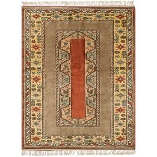 ECARPETGALLERY Hand-knotted Ushak Dark Copper Wool Rug - 5'6 x 7'3