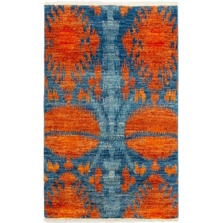 ECARPETGALLERY Hand-knotted Shalimar Blue, Copper Wool Rug - 3'9 x 6'1