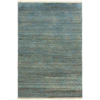 ECARPETGALLERY Hand-knotted Vibrance Grey, Light Blue Wool Rug - 4'2 x 5'11