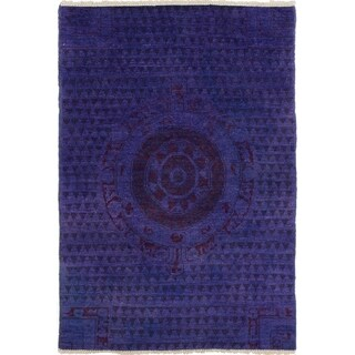 ECARPETGALLERY Hand-knotted Vibrance Purple Wool Rug - 4'0 x 6'0