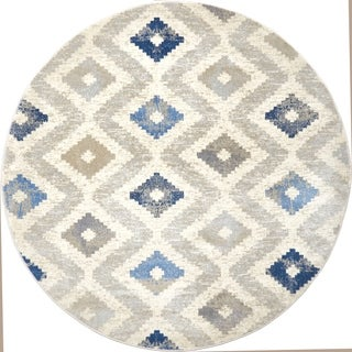 """Melrose Modern Geometric Ivory Blue Area Rug by Home Dynamix - 5'2"""" Round"""