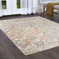 "Melrose Damask Ivory Orange Area Rug by Home Dynamix - 7'10"" x 10'2"""