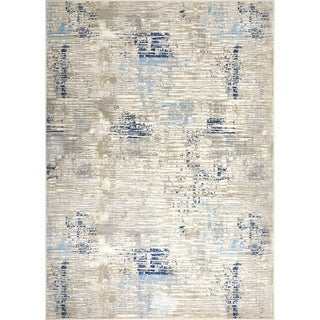 """Melrose Modern Lines Gray-Blue Area Rug by Home Dynamix - 7'10"""" x 10'2"""""""