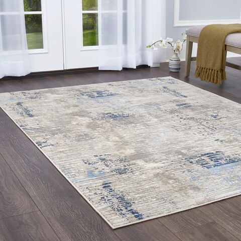 """Melrose Modern Lines Gray-Blue Area Rug by Home Dynamix - 4' x 5'4"""""""