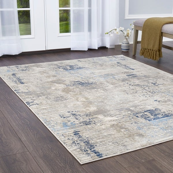 Melrose Modern Lines Gray-Blue Area Rug by Home Dynamix - 4' x 5'4""