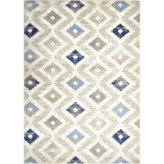 "Melrose Modern Geometric Ivory Blue Area Rug by Home Dynamix - 4' x 5'4"""