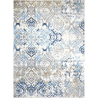 "Melrose Damask Ivory Blue Area Rug by Home Dynamix - 6'6"" x 9'6"""