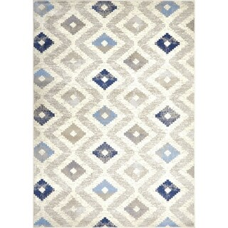 "Melrose Modern Geometric Ivory Blue Area Rug by Home Dynamix - 5'2"" x 7'2"""