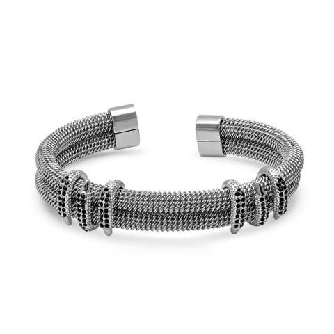 SteeltimeMen's stainless steel wire bracelet with black cubic zirconia claws metallic color