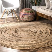 nuLOOM Natural Braided Causal Natural Fiber Jute Cotton Ombre Swirl Round Area Rug - 8' Round