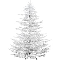 Fraser Hill Farm 9' Flocked Arctic Pine Artificial Christmas Tree with Multi LED Lights, EZ Connect - Snow