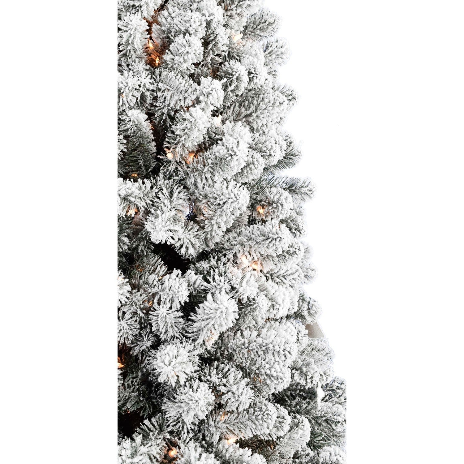 Fraser Hill Farm 7 5 Foot Flocked Alaskan Pine Led Lit Christmas Tree