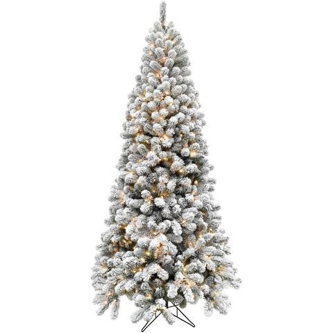 Fraser Hill Farm 7.5-foot Flocked Alaskan Pine LED-lit Christmas Tree