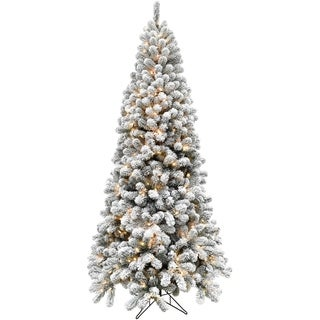 Fraser Hill Farm 7.5-foot Flocked Alaskan Pine LED-lit Christmas Tree