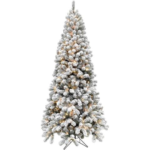 Fraser Hill Farm EZ Connect Snowy Flocked Alaskan Pine 6.5-foot Clear LED Artificial Christmas Tree