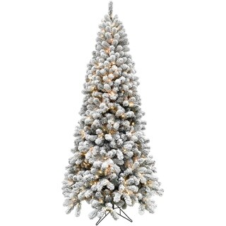 Fraser Hill Farm EZ Connect Snowy Flocked Alaskan Pine 6.5-foot Clear LED Artificial Christmas Tree