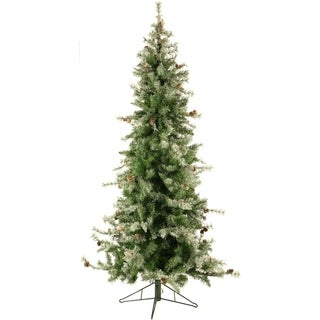 Fraser Hill Farm Buffalo Fir 6.5-foot Slim Artificial Christmas Tree with Clear LED EZ Connect Lights