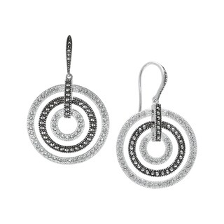 MARC Sterling silver White Crystal & Marcasite Wheel Earrings