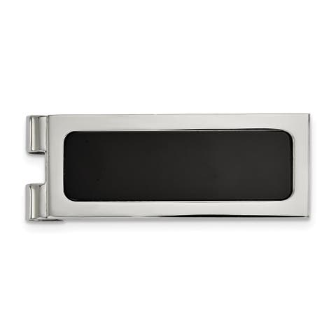 Chisel Stainless Steel Polished with Black Agate Inlay Money Clip