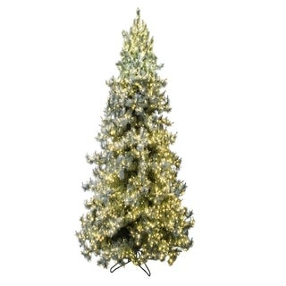 Forever Tree Green Synthetic Fiber 12' Iced Layered Slim Aspen Pine with 8-Function Remote