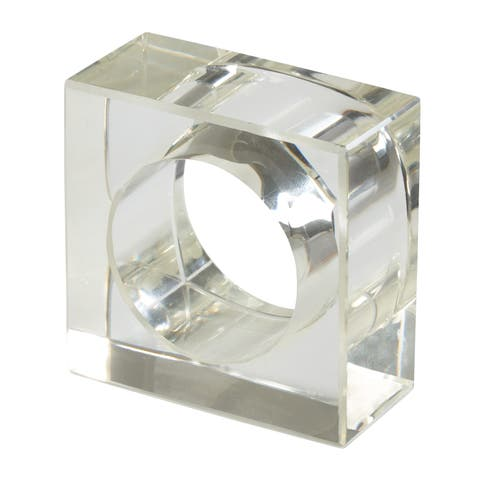 Acrylic Napkin Rings With Square Design (Set of 4)