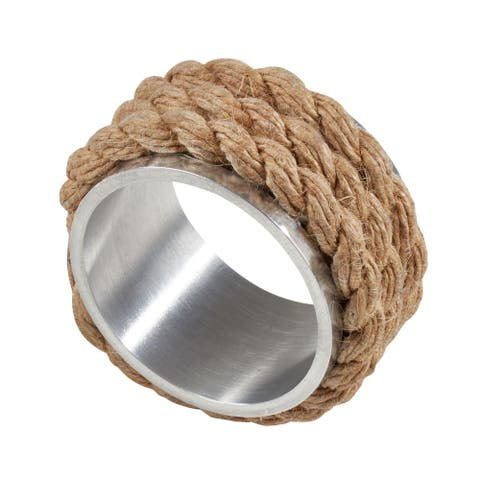Rope Design Aluminum Napkin Rings (Set of 4)