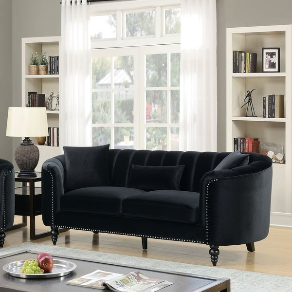 Outstanding Furniture Of America Tessa Tufted Velvet Like Sofa Caraccident5 Cool Chair Designs And Ideas Caraccident5Info