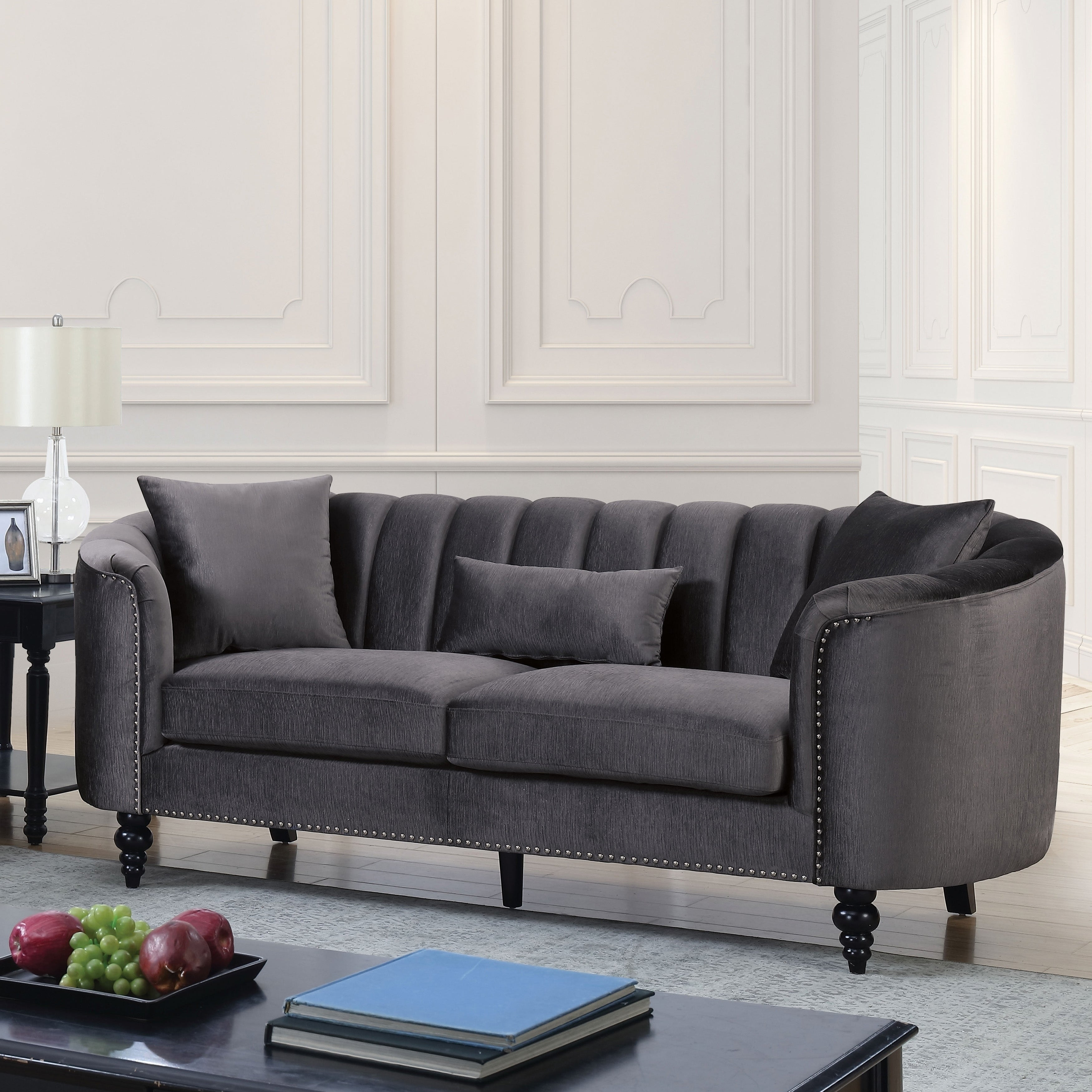 Picture of: Shop Black Friday Deals On Silver Orchid Cerdan Tufted Velvet Microfiber Sofa Overstock 23480168