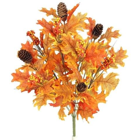 9 Stems Faux Maple Leaves, Pine Cone, Berries Foliage Fall Bush