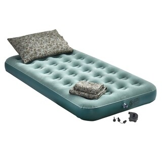 Campground Survival Kit Inflatable Bed Set - Green/Camouflage