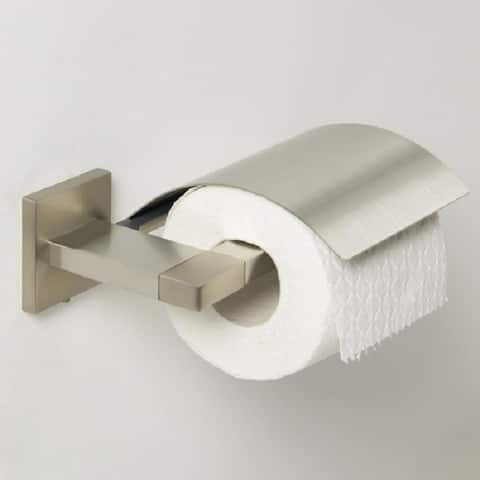 Tiger Toilet Paper Roll Holder Straight With Cover Items Brushed Stainless Steel - N/A - N/A