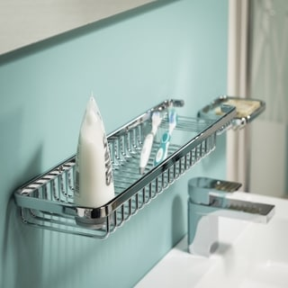 Tiger Wall-Mounted Exquisit Large Soap And Sponge Basket Chrome