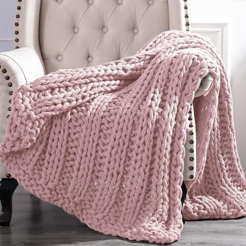 Amrapur Overseas Luxury Chunky Knit Acrylic Bed Sofa Throw