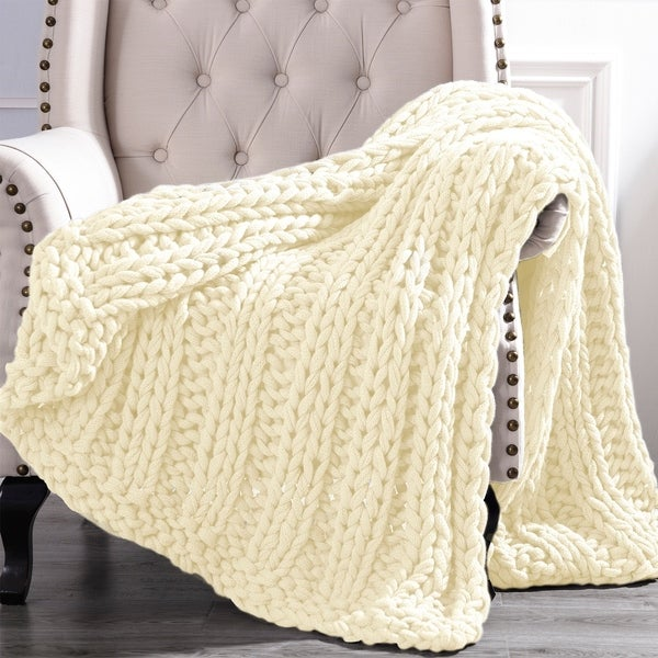 Modern Threads Luxury Chunky Knit Acrylic Bed Sofa Throw
